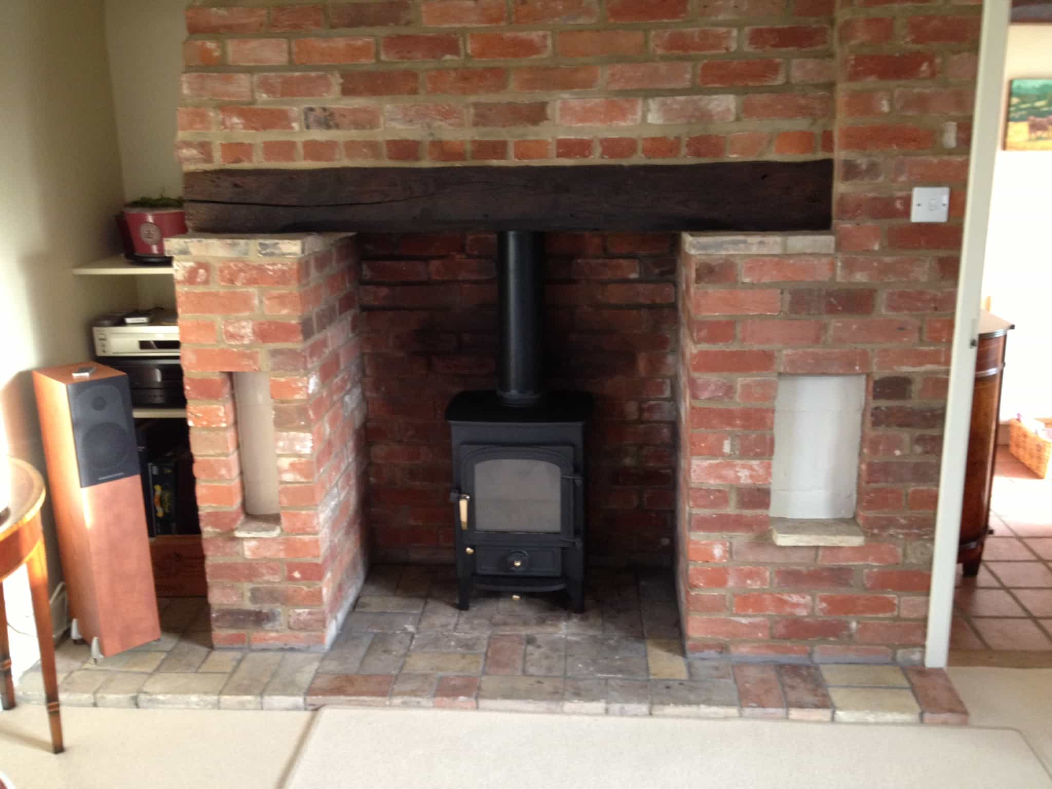 clearview wood burning stove installation near saffron walden