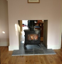 Yeoman double sided stove installed