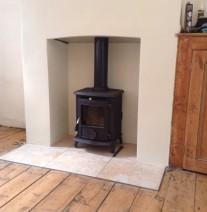 Installation of aga wenlock wood burning stove
