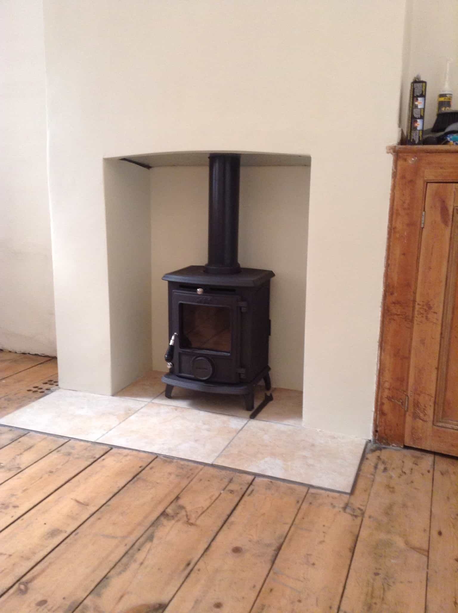 Installation of aga wenlock wood burning stove View - Portfolio Archive - Cambridge Stoves