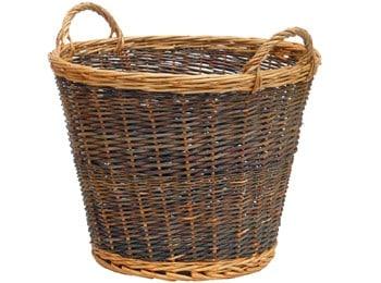 Log basket, large two tone