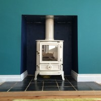 Wood burning stove in white