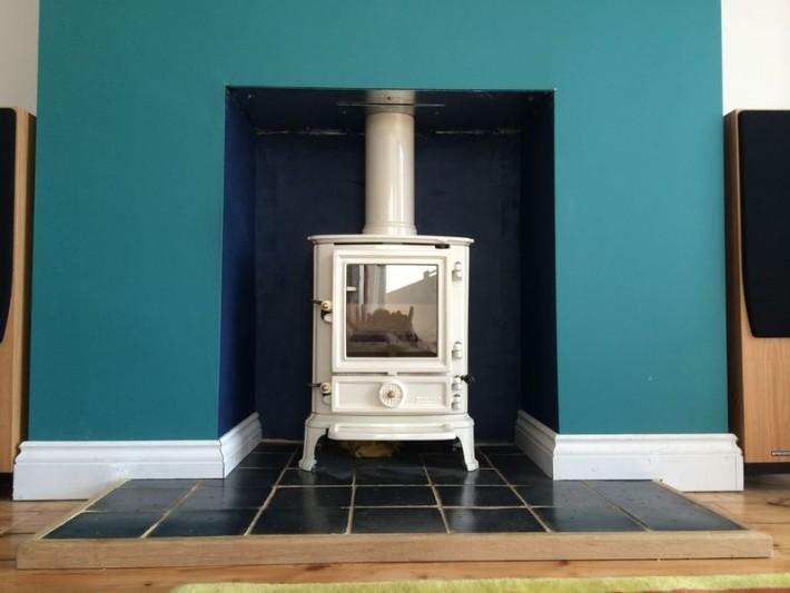 Wood burning stove in white